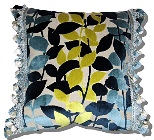 ROMO CUT VELVET LEAVES STRIPES TOSS PILLOW WITH SCALAMANDRE SILK TRIM (Velvet Cut Stripe)