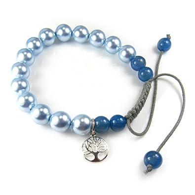 Bleu Vie Bracelet 19 De Jade Cm Swarovski Charm 19 1 Arbre Perle 0nOkPw
