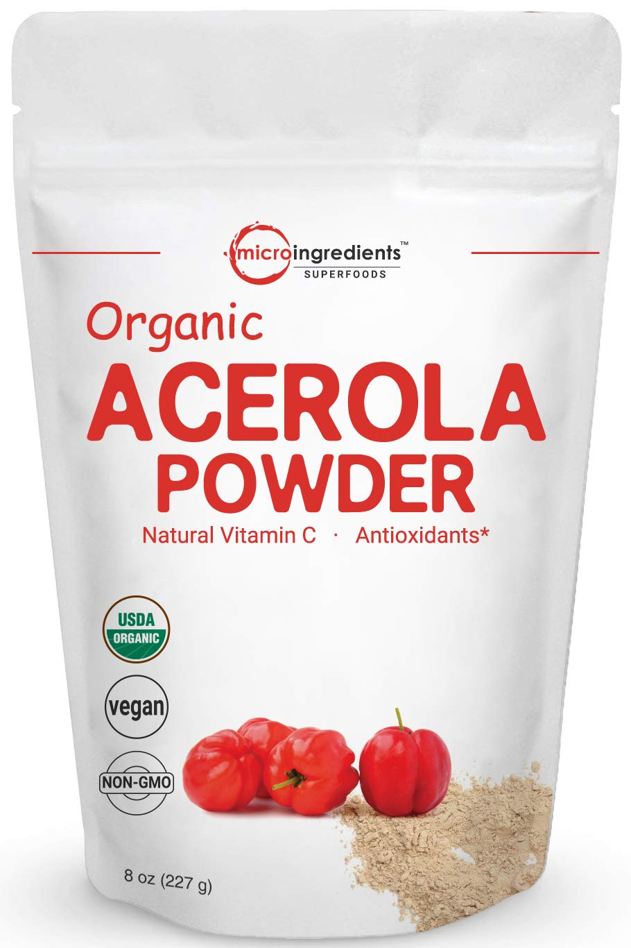 Pure Acerola Cherry Powder Organic, Natural and Organic Vitamin C Powder, 8 Ounce, Best Superfoods for Beverage, Smoothie and Drinks, No GMOs and Vegan Friendly by Micro Ingredients