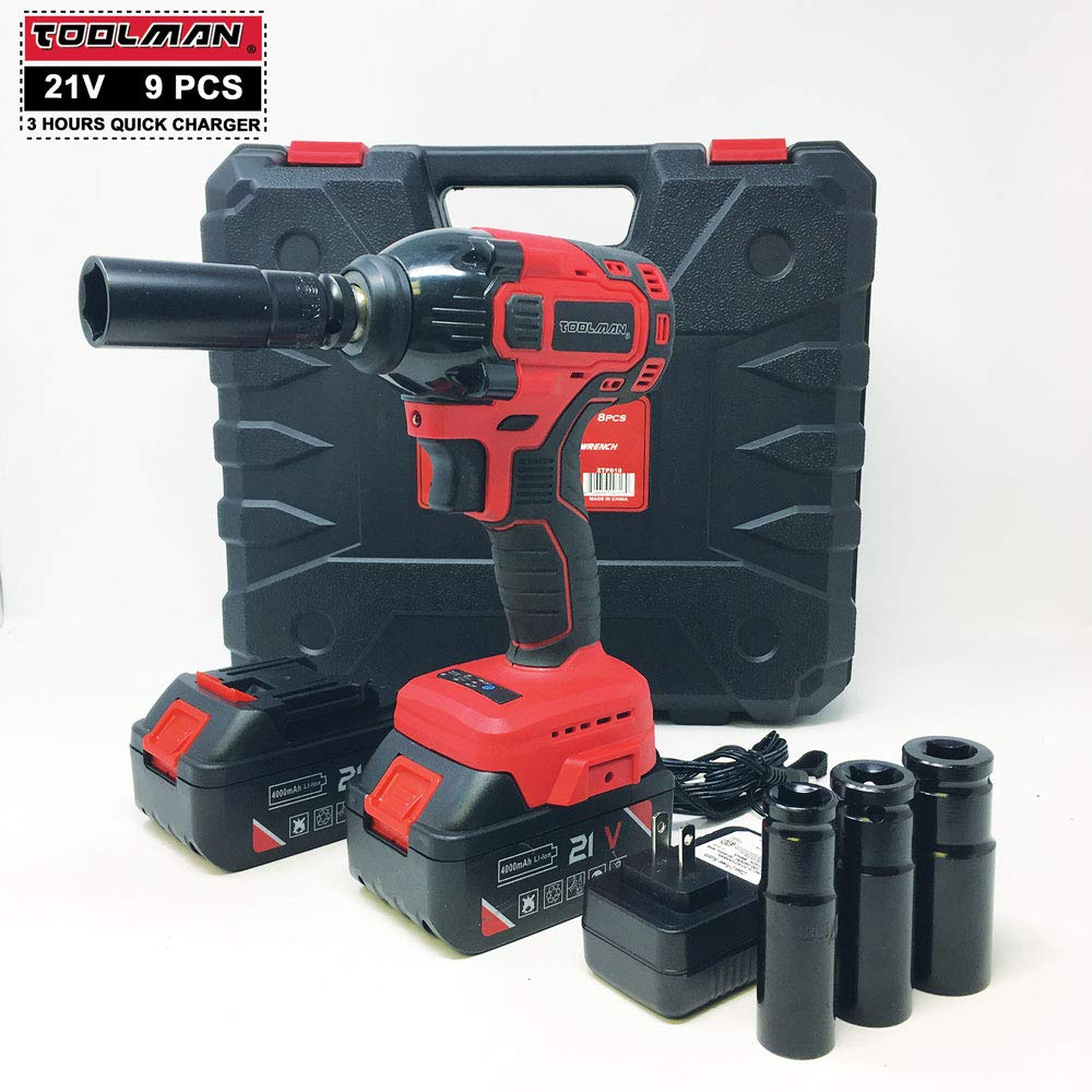 """Toolman Impact Wrench kit 1/2"""" 21V with Drill Set 8 pcs (2 BATTRIES) for Heavy Duty works with DeWalt Makita Ryobi Accessories"""