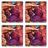 MSD Square Coasters Non-Slip Natural Rubber Desk Coasters design 24253429 Double Arch Windows Section Arches National Park Moab Utah USA Southwest