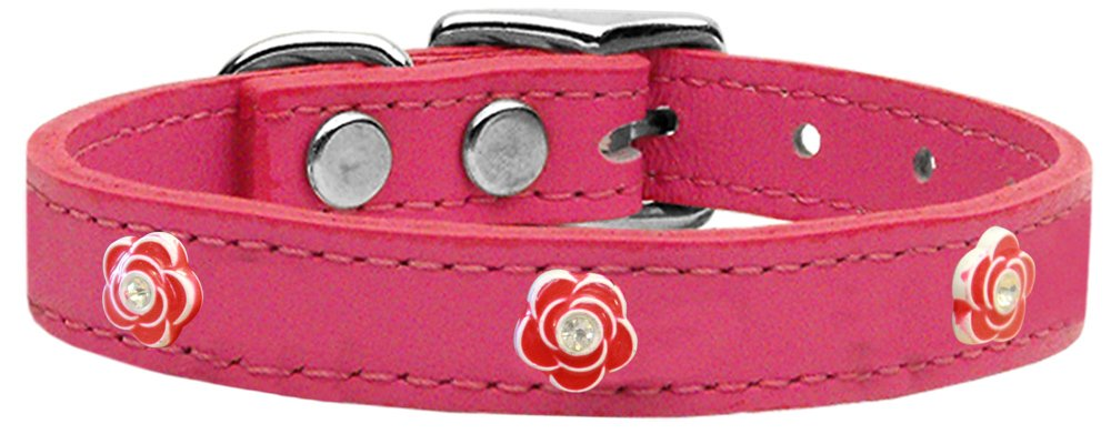 Mirage Pet Products pink Widget Genuine Leather Dog Collar, Size 14, Pink Red