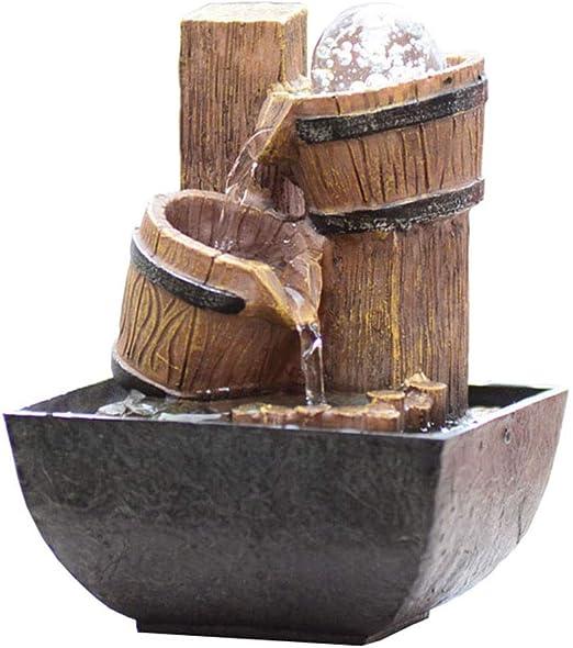 Fuentes de Interior Fuente de sobremesa Fuente de agua Zen pequeña Resina de 2 capas Barril