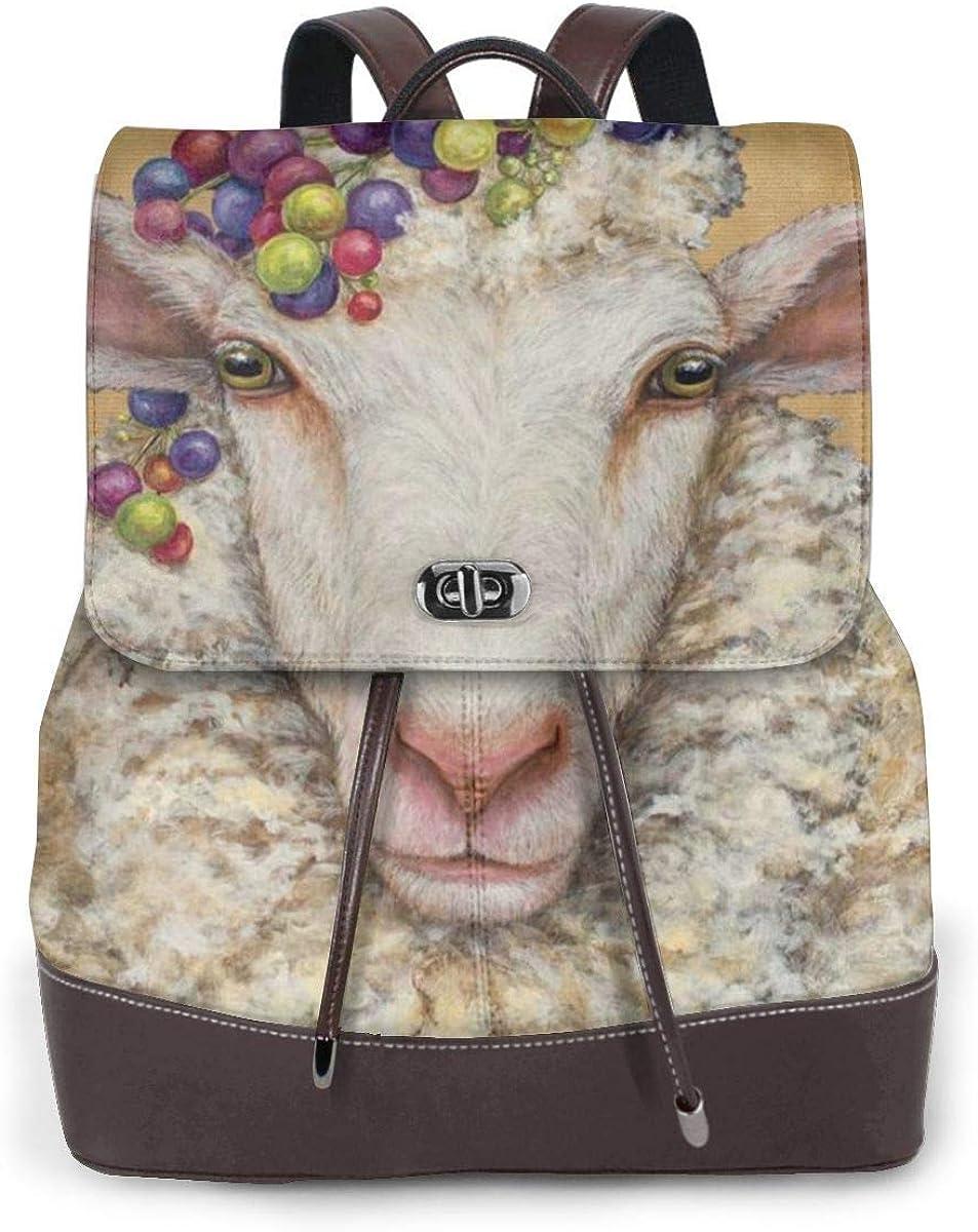 Zaino da donna Casual vintage Borse da viaggio Teen Sheep Donna Moda Zaino in vera pelle Borsa da viaggio per ragazze Mini Borsa a tracolla Lady Sheep