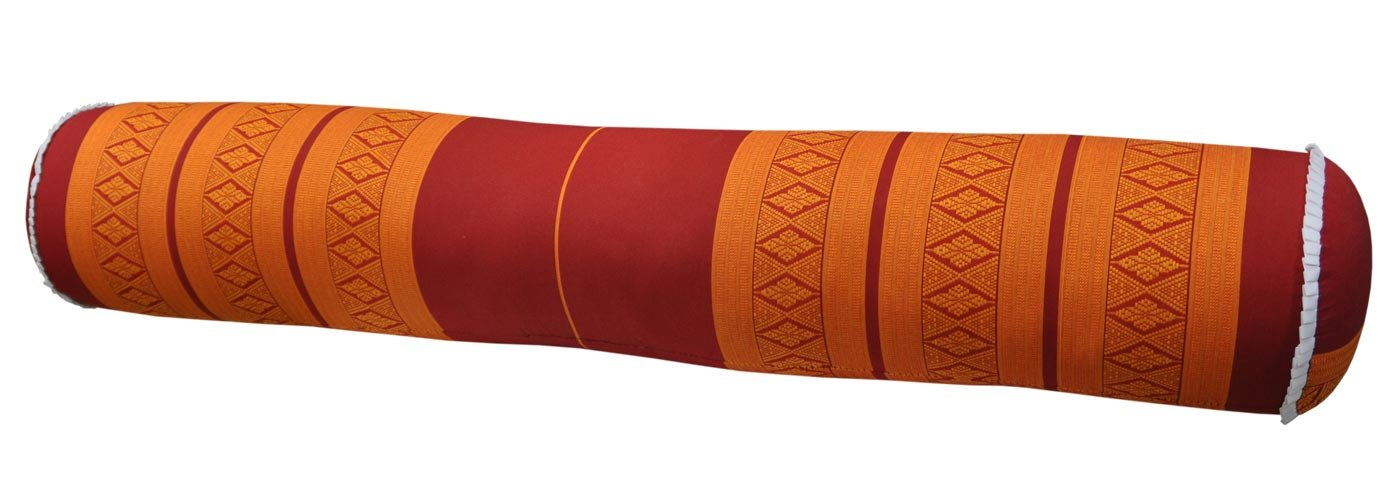 Thai cushion round bolster, pillow, sofa, imported from Thaïland, red/orange, relaxation, beach, pool, meditation garden (81012) by Wilai GmbH