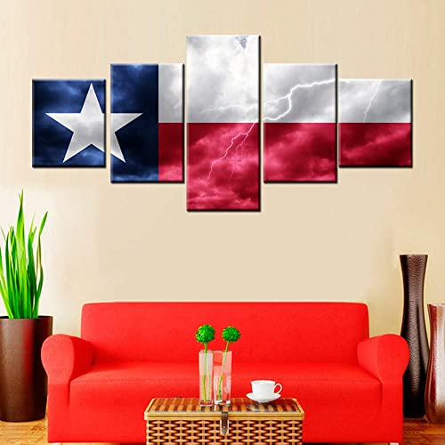 5 Piece Canvas Wall Art Native American Texas State Flag Pictures White Red Paintings for Living Room Modern Patriotic Artwork Home Decoration Wooden Framed Gallery-Wrapped Ready to Hang 50 Wx24 H