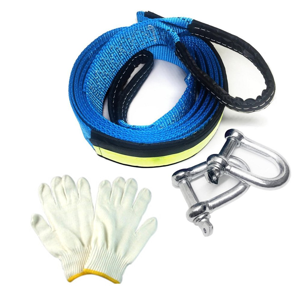 Tow Rope, Towinle Car Tow Rope, 5 Metres, With Non-Slip Gloves (green)
