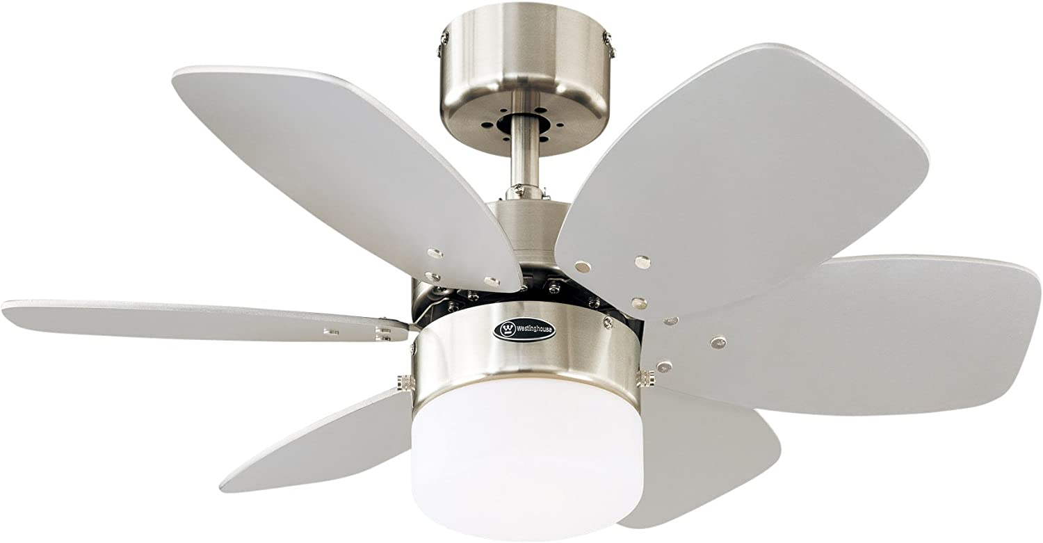 Westinghouse Lighting Flora Royale Ventilador de Techo E27, 60 W, Cromo Satinado