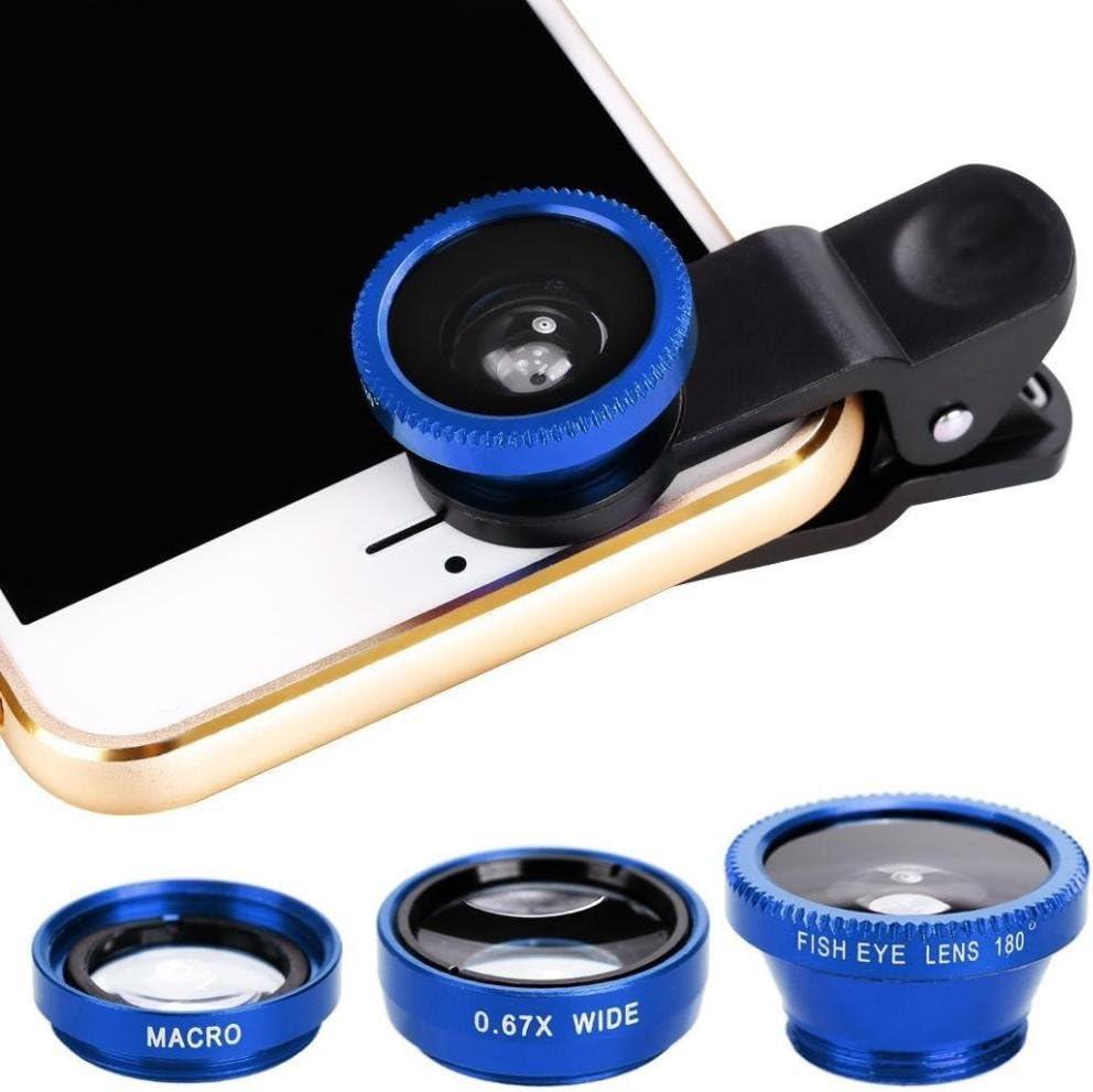 Jaminy Objectifs avec clip universel 3/en 1/: Fisheye/+/Grand Angle/+/Macro pour smartphones iPhone tablettes etc. Samsung