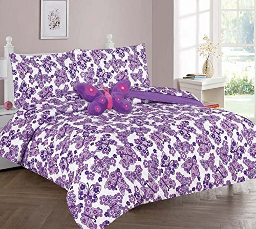 Kids Twin Panel (WPM Butterfly Purple bedding set choose from Full/Twin comforter or bed sheets or window curtains panels for kids/girls room (Twin Comforter set))