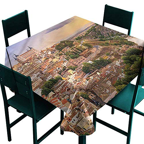 DONEECKL Wrinkle Resistant Tablecloth Wanderlust Toledo Spain Old City Party W63 xL63 -