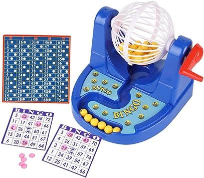 STOBOK Juego de Bingo con Jaula de Metal con Tablero de Llamadas Fichas de Bingo Tarjetas de Bingo Favores para Fiestas Azules Juegos Interactivos para Padres E Hijos Regalo para Niños: Amazon.es:
