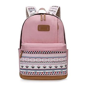 kaoling ImpresióN La Lona Mochila Mujeres Cute School Mochilas para Adolescentes Vintage Laptop Bag Mochila Bagpack Mujer Pink: Amazon.es: Deportes y aire ...