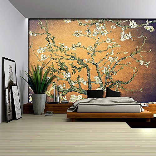 Orange with Purple Vignette Almond Blossom by Vincent Van Gogh Wall Mural