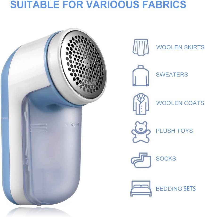 SUNMAY Fabric Shaver, Lint Remover with Distance Ring, Bobble Remover Battery Operated with Travel Carrying Pouch Blue