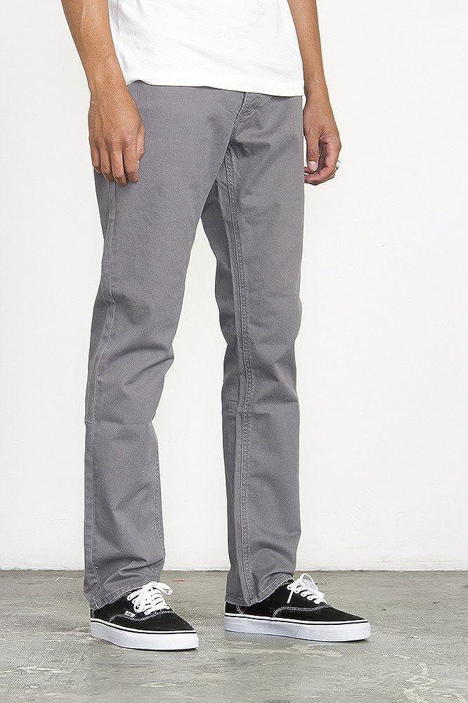 RVCA Stay Slim Straight Twill Pants Smoke Grey Size 36