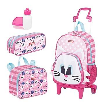 ac46a093b Kit Mochila Infantil Kids Cat 18Y Lancheira Estojo Sestini  Amazon ...