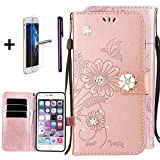 iPhone 4 Case,iPhone 4S Case, ISADENSER Fashion Embossing Butterfly Flowers PU Leather Case With Purse Credit Card Slots Wrist Strap for iPhone 4 / 4S - Diamond Ants Dating Rose Gold