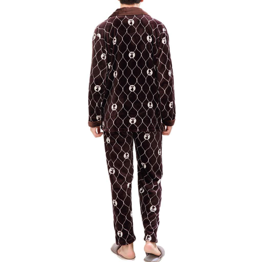 beautyjourney Albornoz a Cuadros de los Hombres Conjunto de Pijamas de Lana de Franela de Invierno Pijamas de Manga Larga + Pantalones Traje Principal: ...