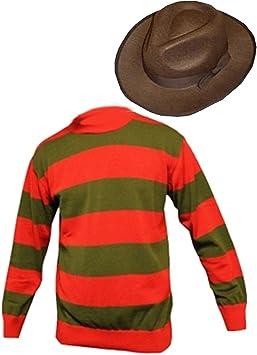 Unisex Rosso Verde Costume Festa Freddy Krueger Halloween a Righe Maglione Taglia