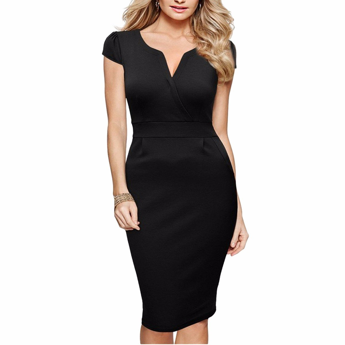 Samtree Women's Solid Color Floral V-Neck Business Office Work Bodycon Pencil Dress(Asia M,Black)