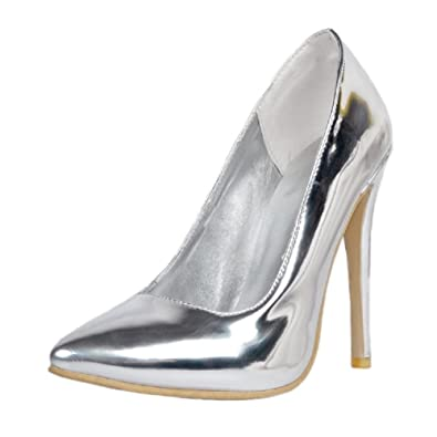 MERUMOTE Damen Spitz High Heels Silber Stiletto Court Schuhe