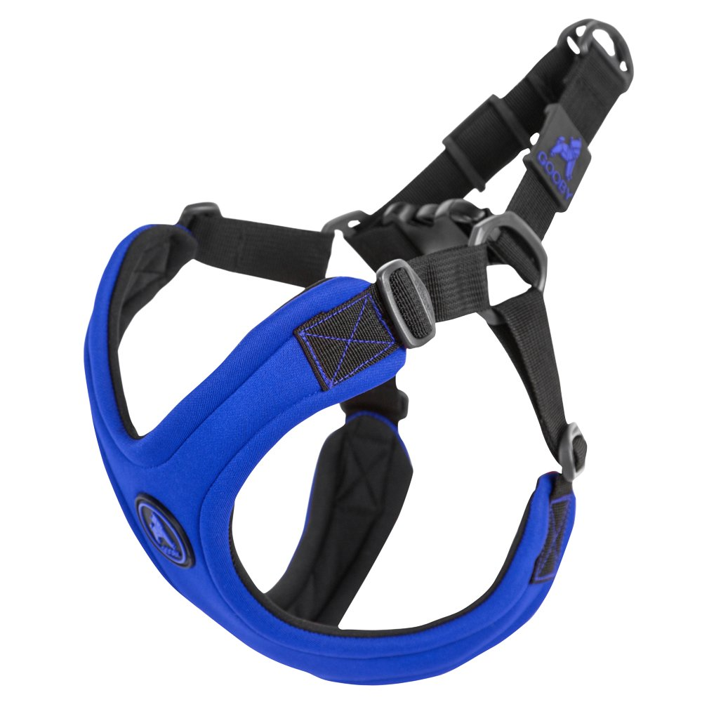 bluee Large chest (1922.5 )Gooby  Escape Free Sport Harness, Small Dog Stepin Neoprene Harness for Dogs That Like to Escape Their Harness, Lime, Large