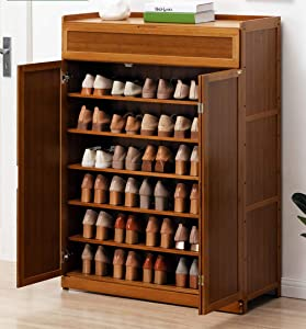 Gnpolo Shoe Storage Cabinet Entryway with Doors Standing Shoe Rack Organizer Pantry Cabinets (7-Tier 3 Doors)