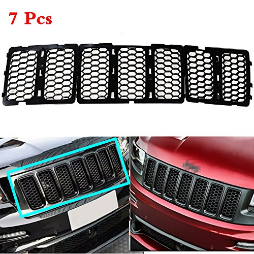 AVOMAR 7PCS Latest Honeycomb Matte Mesh Front Grill Grille Inserts Cover Kit For 2014 2015 2016 Jeep Grand Cherokee (Black) (Honeycomb Kit)