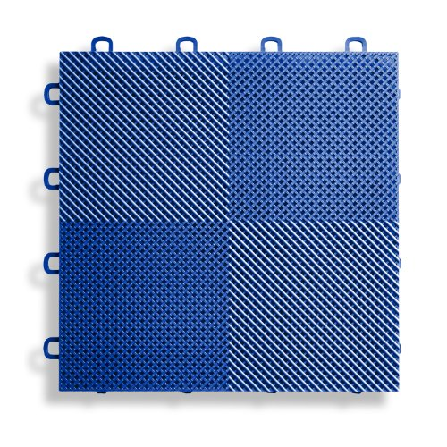 Blue Base Tile (BlockTile B2US4530 Deck and Patio Flooring Interlocking Tiles Perforated Pack, Blue, 30-Pack)
