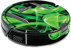 MightySkins Skin Compatible with Shark Ion Robot R85 Vacuum - Green Flames | Protective, Durable, and Unique Vinyl Decal wrap Cover | Easy to Apply, Remove, and Change Styles | Made in The USA