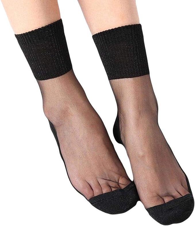 Women Summer Fashion Transparent Silk Fruit Print Short Socks Ankle Clear Socks