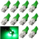 Tonsee 10Pcs 192 168 194 W5W 2825 158 T10 5-SMD 5050 Xenon LED Super Bright Car Lights Lamp Bulb (Green)