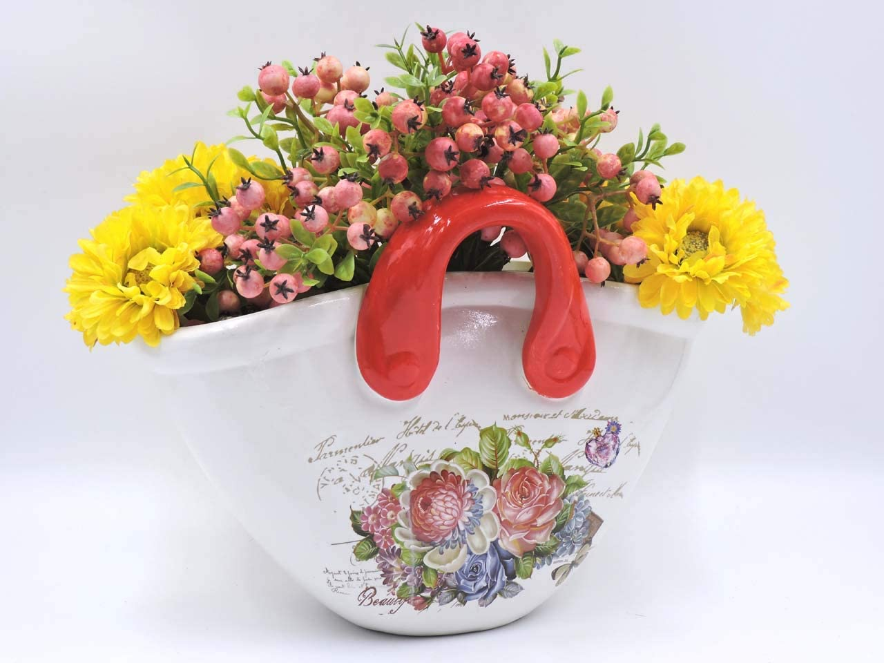 hadaaya gifts & home decor Basket Shaped Planter, Beautiful Floral Design with Red Color Handles Decorative, Shabby Chic, Ceramic Showpiece