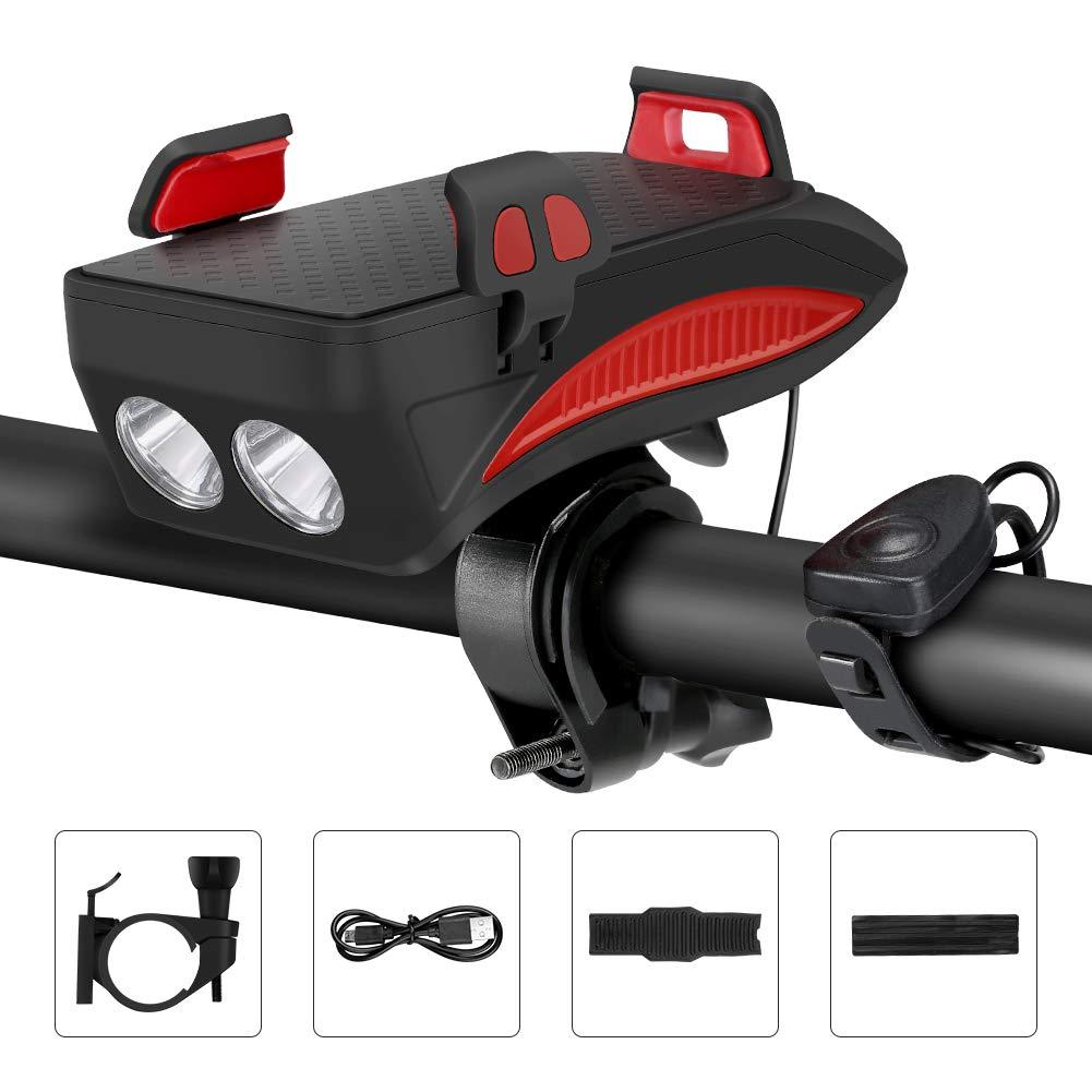 Lypulight luz Bicicleta, Luz Delantera de Bicicleta Recargable USB, luz de Ciclismo con Soporte para teléfono, Banco de alimentación de Carga USB y bocina de Alto decibelio (Cable USB Incluido)