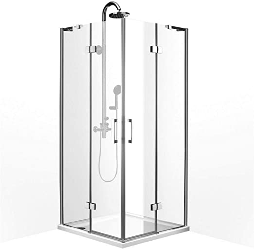 Mampara de ducha, 80x80x200 cm, espesor 8mm, 2 puertas abatibles+ paneles fijos, tratamiento NANO: Amazon.es: Hogar