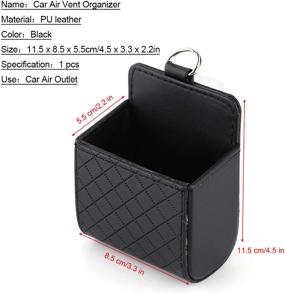 Qiilu Autotasche Auto Auslass Handy Smartphone Tasche Organizer Halter Ablage Korb Box Pu Leder Auto