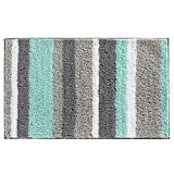 HEBE Non-Slip Bathroom Rug Mat Shag Microfiber Shower Bath Rug Absorbent Bath Mat for Bathroom Machine Washable(18×26', Blue/Grey)