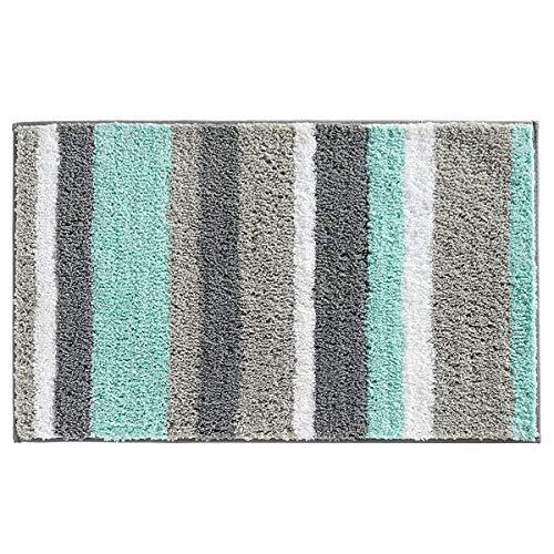 Hebe Non Slip Bathroom Rugs Mat Soft Microfiber Bath Mats For Bathroom Absorbent Bath Floor Rug Machine Washable 20 X32 Blue Grey