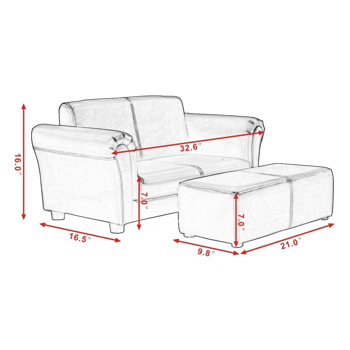 Kids Sofa With Ottoman White Color Armrest Chair Armchair Seat Couch Children Living Room Bedroom Playroom Lounge Lounger Furniture Toddler Gift Comfortable Material Lightweight