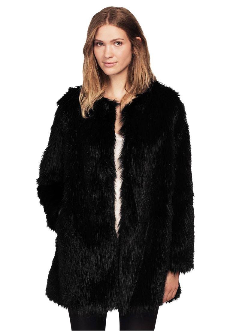 Ellos Women's Plus Size Faux Fur Snap Front Coat Black,2X