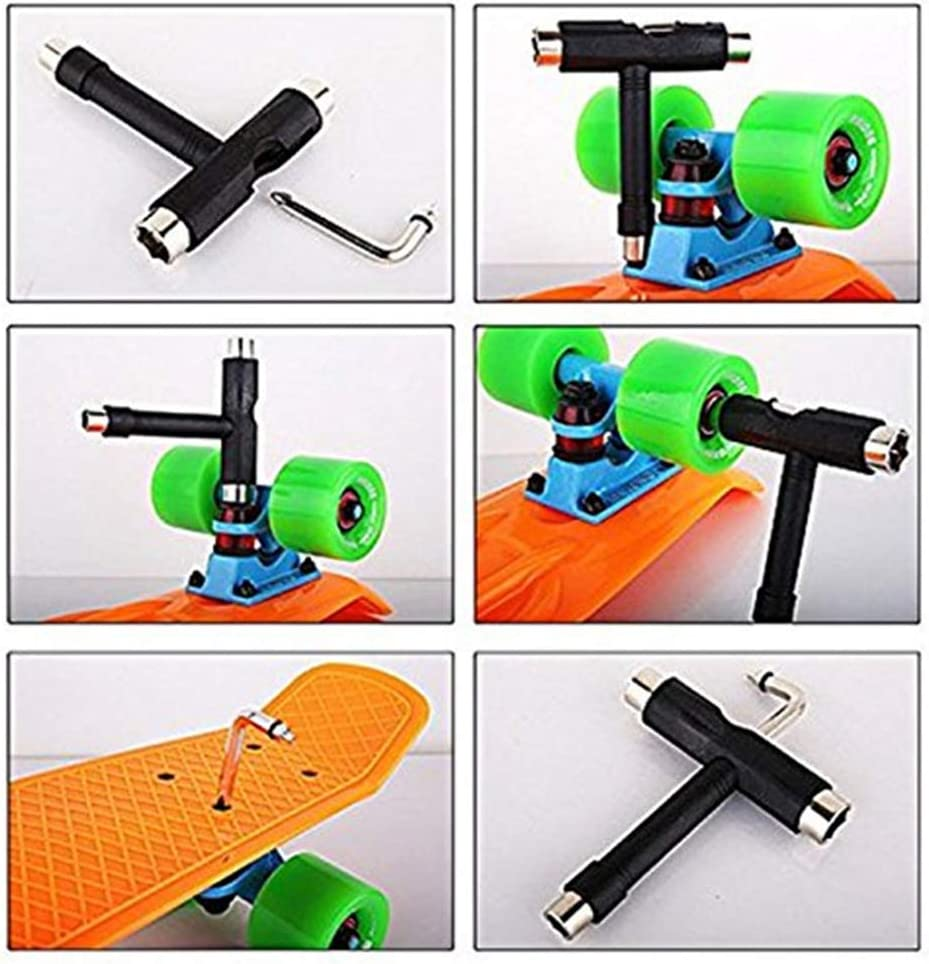EUGNN Skateboard Wrench Light Weight T-Shape Adjusting Tool Hexagon Adjustment Equipment Multifunctional All in One Universal ller Skate Assembling Accessories with Mini Wrench