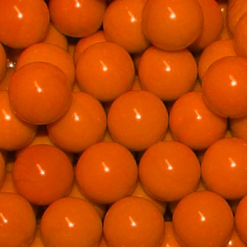 Unique & Custom {9/16'' Inch} Approx 1 Pound Set of Approx 120 ''Round'' Opaque Marbles Made of Glass for Filling Vases, Games & Decor w/ Glossy Smooth Pumpkin Tone Fall Filler Design [Bright Orange] by mySimple Products
