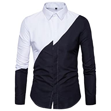 09f85b5637e Longra Mens Long Sleeve Oxford Formal Casual Suits Slim Fit Tee Dress  Shirts Blouse Top Male