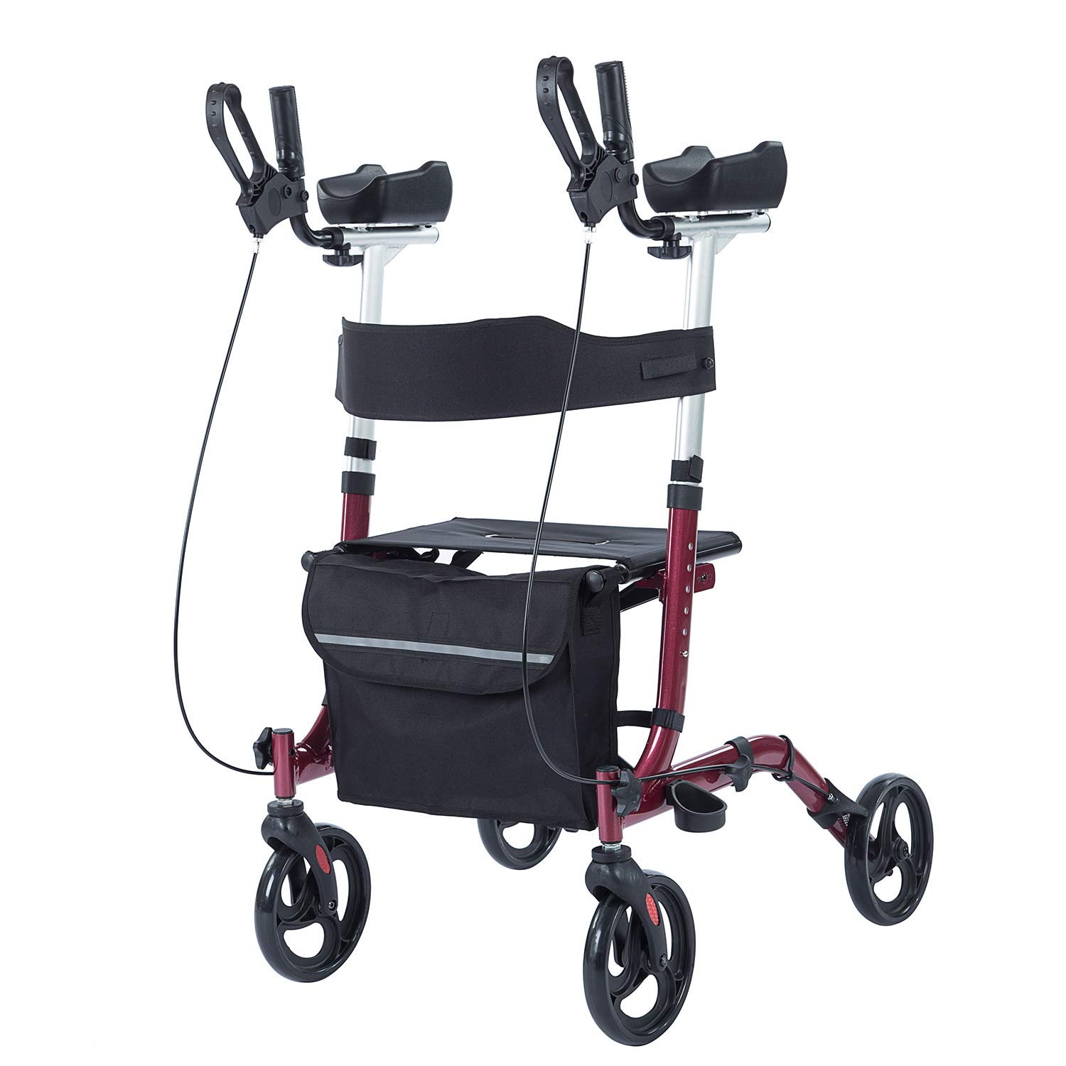ELENKER Upright Walker,Stand Up Folding Rollator Walker Back Erect Rolling Mobility Walking Aid with Backrest Seat and Padded Armrests for Seniors and Adults,Red by ELENKER