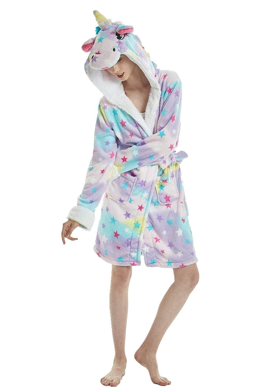 Funboat Einhorn Schlafanzug Damen Winter Pyjama Bademantel Flanell Tiere Ankleiden