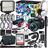 Canon EOS 7D Mark II DSLR Camera (Wi-Fi) Premium Video Creator Kit with Canon 18-135mm USM Lens + Sony Monitor Series Headphones + Video LED Light + 32gb Memory + Monopod + High End Accessory Bundle