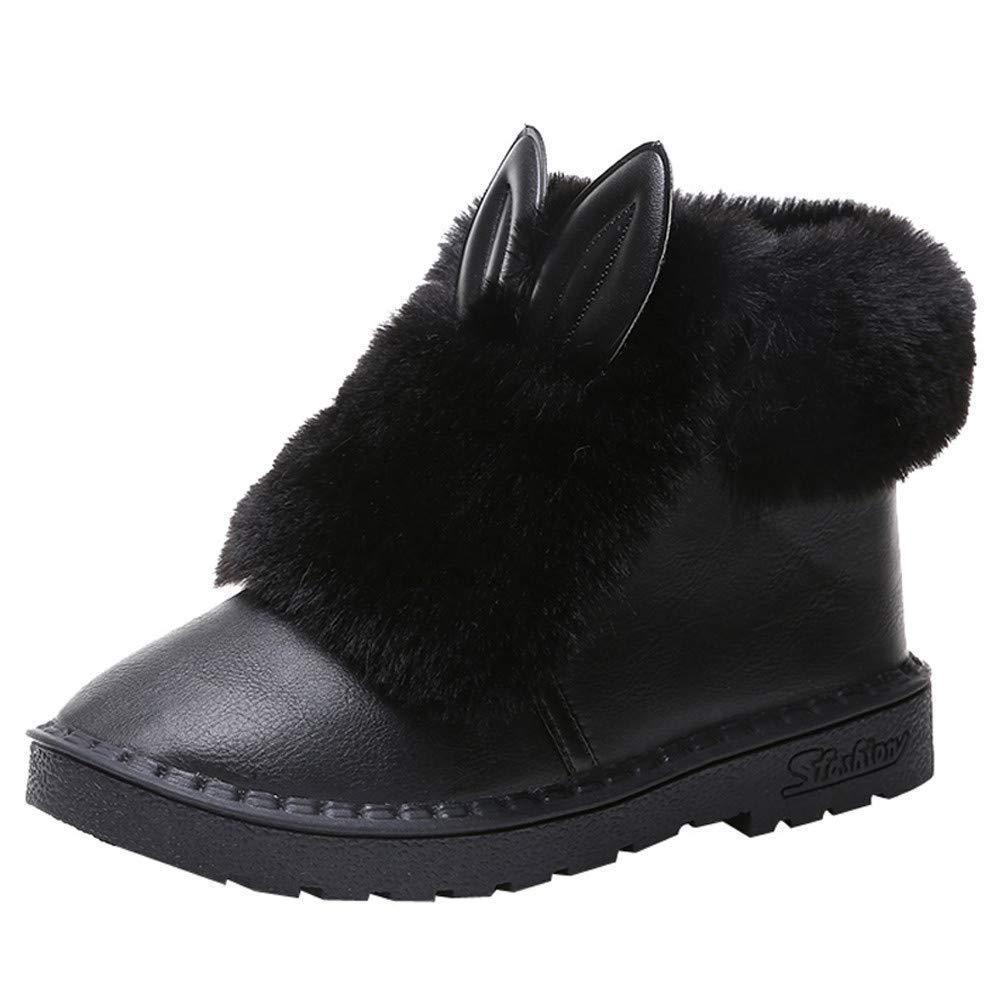 ZHRUI Schuhe Damen Stiefel Freizeitschuhe Winterstiefel Stiefeletten Kurze Stiefel Mode Frauen Rabbit Ears Winter Flache Warm Slip On Plüsch Knöchel Schnee Aufladung (Farbe   Schwarz Größe   38 EU)