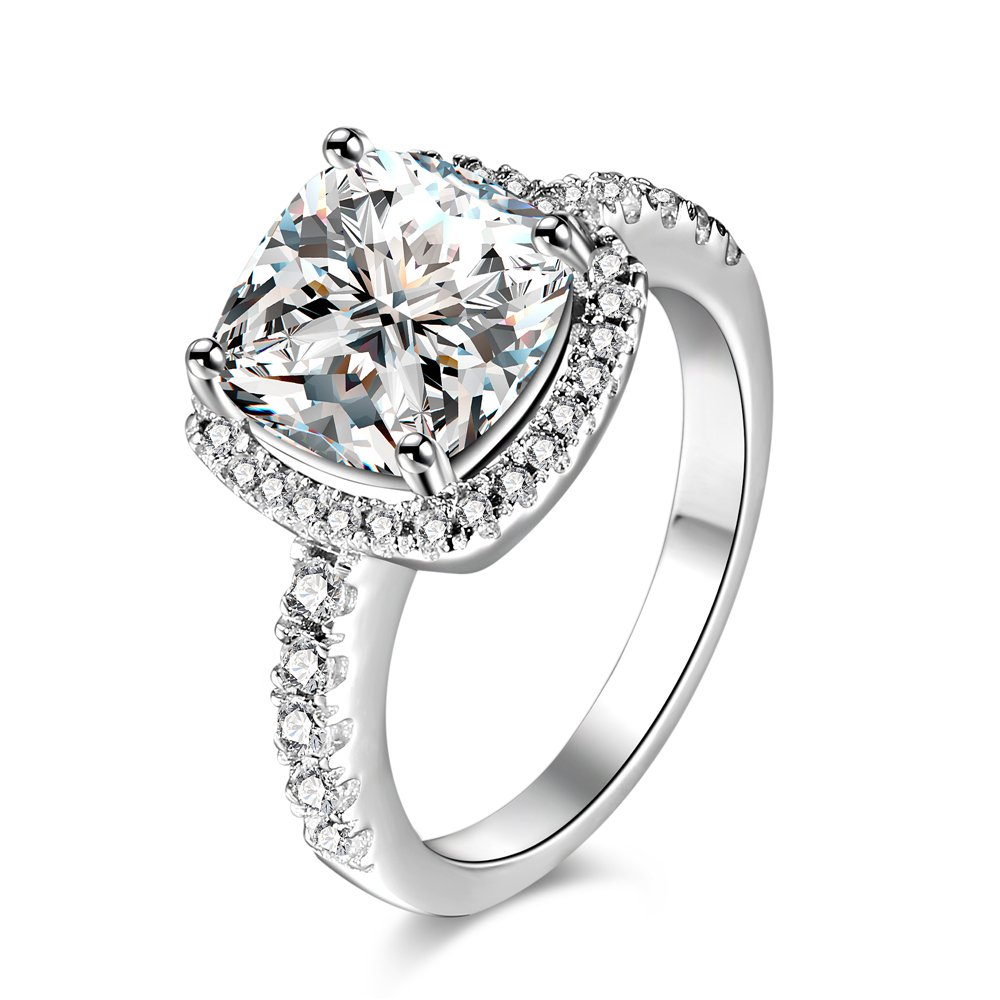 Wedding Ring for Traveling [Size 7] - Cushion Cut [Sterling Silver] Solitaire [4 CARAT CZ] - Cubic Zirconia - Promise/Engagement/Travel Ring