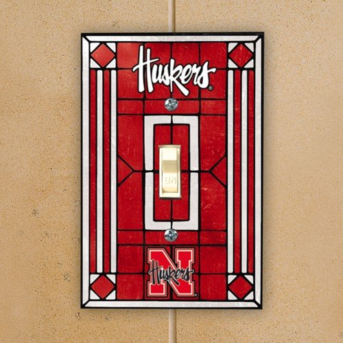 NCAA Nebraska Cornhuskers Scarlet Art-Glass Switch Plate Cover